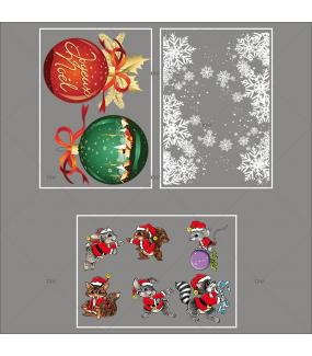 lot-promotionnel-3-stickers-vitrine-noel-petillant-frises-entourage-cristaux-animaux-deguises-boules-geantes-joyeux-noel-electrostatique-sans-colle-repositionnable-DECO-VITRES-KIT83