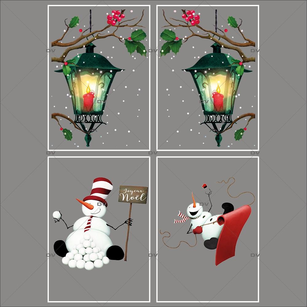 lot-promotionnel-4-stickers-vitrine-noel-retro-lanternes-branches-de-houx-bonhomme-de-neige-luge-pancarte-joyeux-noel-electrostatique-sans-colle-repositionnable-DECO-VITRES-KIT146
