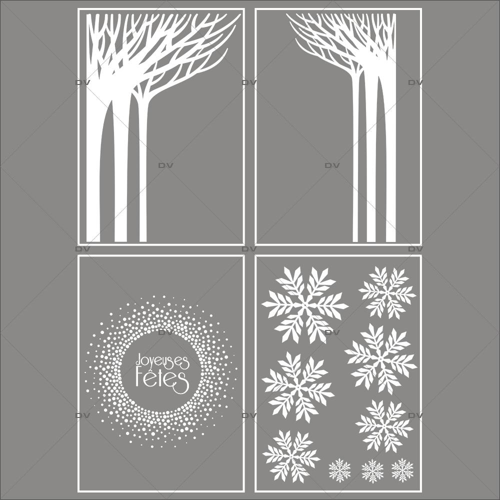 lot-promotionnel-4-stickers-vitrine-noel-paysage-givre-cristaux-foret-arbres-givres-couronne-joyeuses-fetes-flocons-electrostatique-sans-colle-repositionnable-DECO-VITRES-KIT127