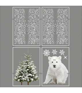 lot-promotionnel-4-stickers-vitrine-noel-nature-et-polaire-ourson-cristaux-sapin-enneige-frises-de-flocons-electrostatique-sans-colle-repositionnable-DECO-VITRES-KIT76