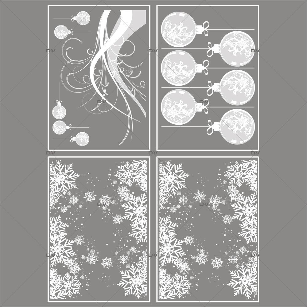 Image Vitrine Noel.Lot Promotionnel 4 Stickers Noel Gourmand Deco Vitres Electrostatique