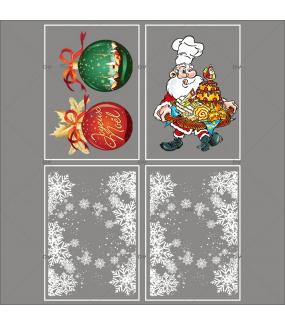lot-promotionnel-4-stickers-vitrine-noel-gourmand-frises-entourage-cristaux-boules-geantes-joyeux-noel-pere-noel-patissier-electrostatique-sans-colle-repositionnable-DECO-VITRES-KIT154