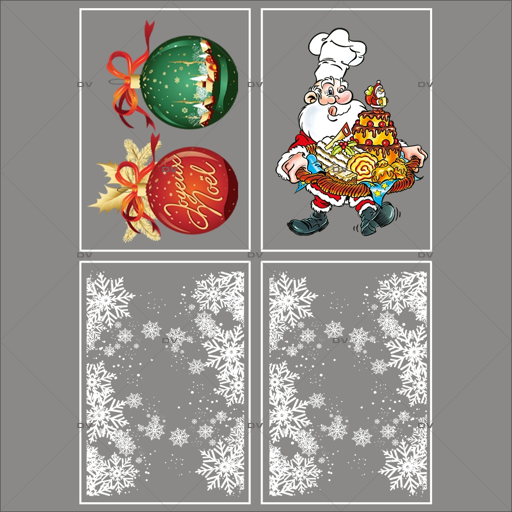 lot-promotionnel-4-stickers-vitrine-noel-gourmand-frises-entourage-cristaux-boules-geantes-joyeux-noel-pere-noel-patissier-electrostatique-sans-colle-repositionnable-DECO-VITRES-KIT154