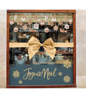 photo-decoration-vitrine-noel-gateaux-traditionnels-cristaux-noeud-or-dore-texte-joyeux-noel-boulangerie-patisserie-colombe-cloche-chalet-sapin-etoile-coeur-boule-pigne-pin-ange-sucre-neige-vitrophanie-electrostatique-DECO-VITRES