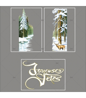 lot-promotionnel-3-stickers-vitrine-noel-old-school-forêt-sapins-sous-la-noel-neige-cerf-texte-joyeuses-fetes-electrostatique-sans-colle-repositionnable-DECO-VITRES-KIT346