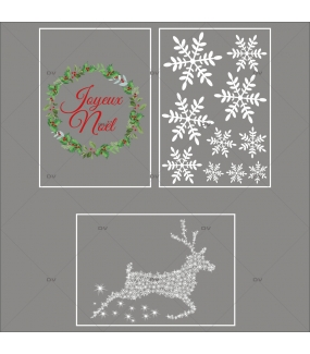 lot-promotionnel-4-stickers-vitrine-noel-old-school-couronne-de-houx-texte-joyeux-noel-renne-cristaux-electrostatique-sans-colle-repositionnable-DECO-VITRES-KIT342