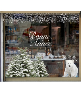 vitrine-decoration-noel-nature-ourson-sapins-enneiges-stickers-electrostatique-vitrophanie-frises-sapin-neige-branchage-givre-couronne-flocons-cristaux-deco-vitres