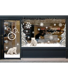 vitrine-decoration-noel-polaire-oursons-ours-famille-paysage-enneige-sapins-stickers-electrostatique-vitrophanie-frises-sapin-neige-branchage-givre-couronne-flocons-cristaux-deco-vitres