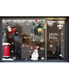 vitrine-noël-retro-decoration-lanterne-bonhomme-de-neige-electrostatique-vitrophanie-cristaux-stickers-deco-vitres