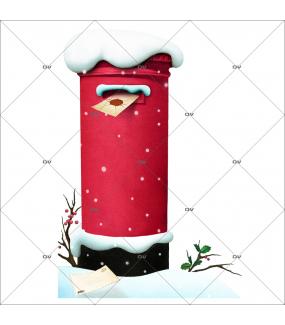 sticker-boite-postale-du-pere-noel-enveloppe-pole-nord-retro-neige-branches-de-houx-noel-vitrine-noel-electrostatique-vitrophanie-sans-colle-DECO-VITRES-BP1
