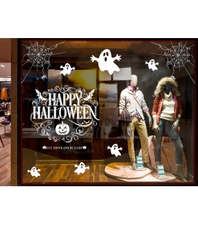 vitrine-sticker-electrostatique-vitrophanie-decoration-halloween-fantomes-texte-happy-halloween-toiles-araignees-deco-vitres