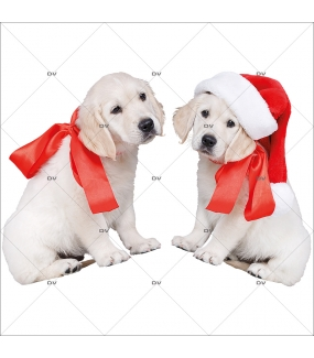 sticker-chiots-golden-retriever-noeud-ruban-rouge-et-bonnet-vitrine-noel-electrostatique-vitrophanie-sans-colle-DECO-VITRES-CC9