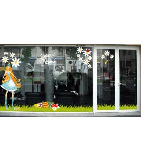 photo-decoration-vitrine-paques-femme-panier-oeufs-multicolores-paquerettes-frises-herbes-texte-joyeuses-paques-vitrophanies-reutilisables-electrostatiques-DECO-VITRES