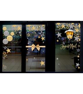 Sticker-frises-étoiles-or-argent-vitrophanie-décoration-vitrine-noël-électrostatique-sans-colle-repositionnable-réutilisable-DECO-VITRES