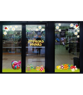 photo-decoration-vitrine-paques-frises-herbes-oeufs-poussins-paquerettes-coccinelle-fleurs-texte-joyeuses-paques-vitrophanies-electrostatique-reutilisables-DECO-VITRES