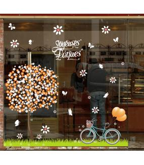 photo-sticker-printemps-fleurs-arbre-bicyclette-herbe-papillons-ballons-texte-joyeuses-paques-decoration-vitrine-vitrophanie-electrostatique-sans-colle-reutilisable-DECO-VITRES