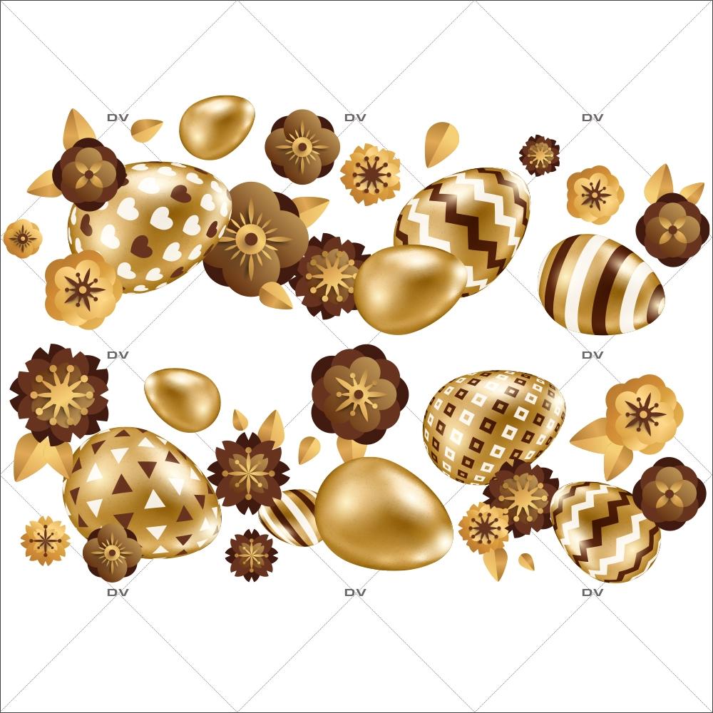 sticker-frises-oeufs-de-paques-horizontales-fleurs-doré-chocolat-decoration-vitrine-paques-vitrophanie-electrostatique-sans-colle-reutilisable-DECO-VITRES-PAQ103