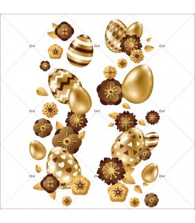 sticker-frises-oeufs-de-paques-verticales-fleurs-doré-chocolat-decoration-vitrine-paques-vitrophanie-electrostatique-sans-colle-reutilisable-DECO-VITRES-PAQ104