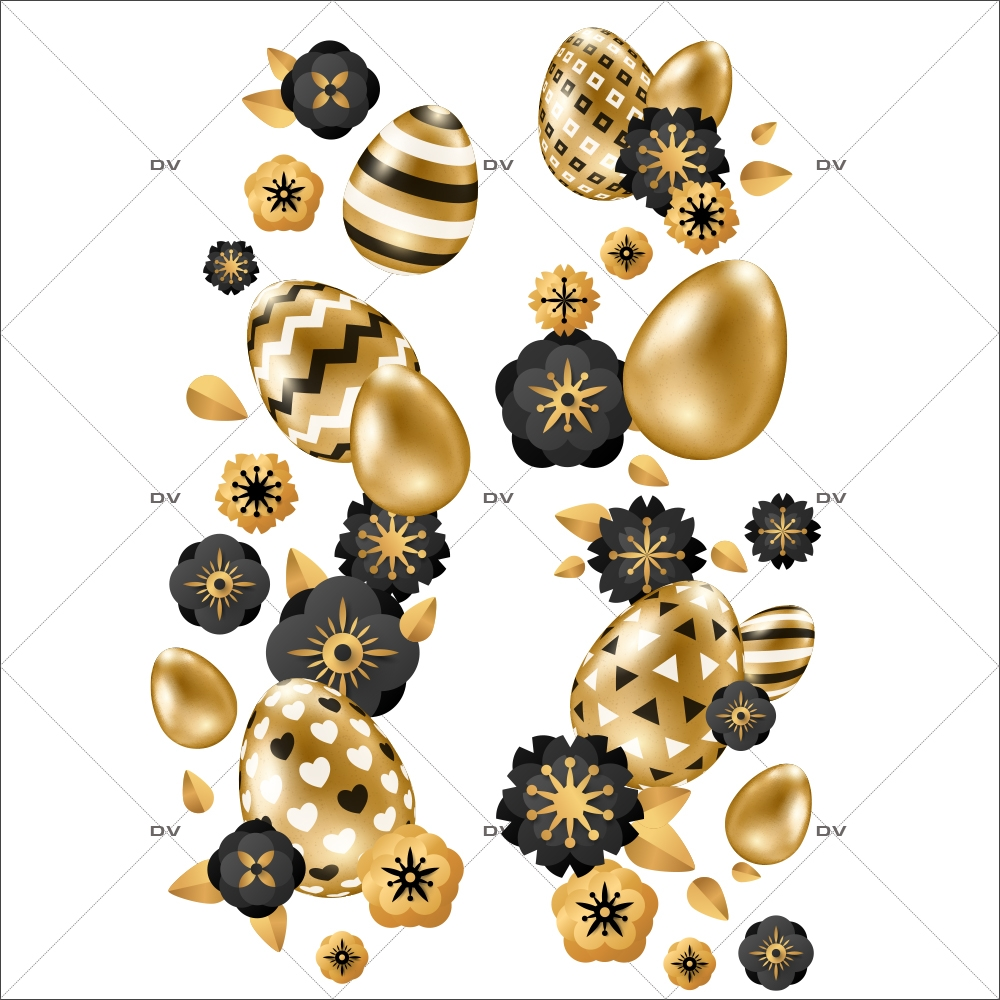 sticker-frises-oeufs-de-paques-verticales-fleurs-doré-noir-decoration-vitrine-paques-vitrophanie-electrostatique-sans-colle-reutilisable-DECO-VITRES-PAQ107
