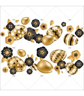 sticker-frises-oeufs-de-paques-horizontales-fleurs-doré-noir-decoration-vitrine-paques-vitrophanie-electrostatique-sans-colle-reutilisable-DECO-VITRES-PAQ105