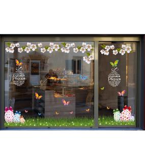photo-vitrine-stickers-paques-fleurs-multicolores-poussins-coquetiers-oeufs-acidulés-texte-joyeuses-paques-fleurs-printemps-vitrophanie-electrostatique-repositionnable-reutilisable-sans-colle-DECO-VITRES
