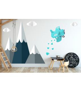 photo-stickers-avion-coeurs-montagnes-soleil-et-nuages-chambre-enfant-garcon-tissu-adhesif-enlevable-encres-ecologiques-latex-sans-pvc-deco-vitres