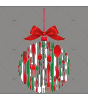 sticker-boule-couverts-de-noel-texte-joyeuses-fetes-noeud-cadeau-rouge-noel-theme-gourmet-restaurant-vitrine-noel-electrostatique-vitrophanie-sans-colle-DECO-VITRES-FB45