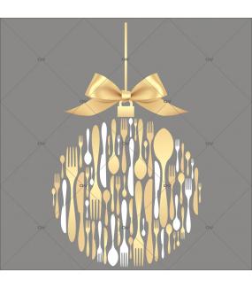 sticker-boule-couverts-de-noel-texte-joyeuses-fetes-noeud-cadeau-dore-or-noel-theme-gourmet-restaurant-vitrine-noel-electrostatique-vitrophanie-sans-colle-DECO-VITRES-FB44
