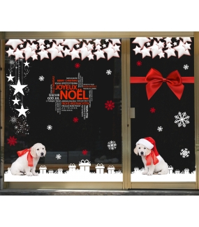 photo-sticker-frises-et-suspensions-etoiles-noeud-cadeau-ruban-rouge-chiots-texte-joyeux-noel-multilingue-cadeaux-blancs-noel-rouge-et-blanc-puppies-decoration-vitrine-vitrophanie-electrostatique-sans-colle-reutilisable-DECO-VITRES