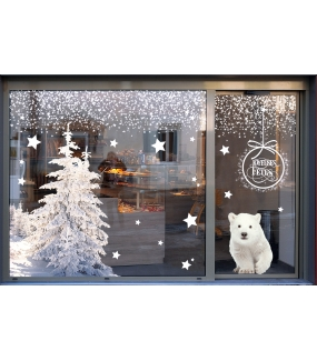 photo-sticker-ourson-polaire-foret-sapins-enneiges-frises-etoiles-texte-suspension-boule-joyeuses-fetes-blanc-noel-polaire-nature-arctique-decoration-vitrine-vitrophanie-electrostatique-sans-colle-reutilisable-DECO-VITRES