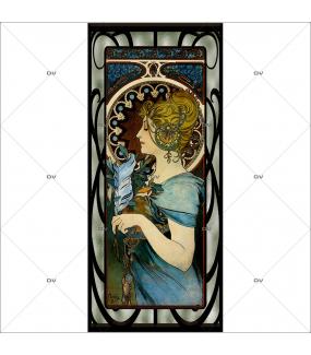 sticker-vitrail-art-nouveau-mucha-dame-plume-VIT451D