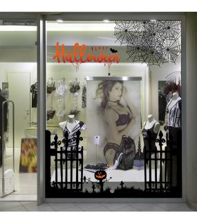 halloween-photo-decoration-sticker-electrostatique-vitrine-chauve-souris-citrouille-cimetiere-toile-araignee-happy-halloween-sanguinolant-texte-grille-medievale-noir-vitrophanie-DECO-VITRES