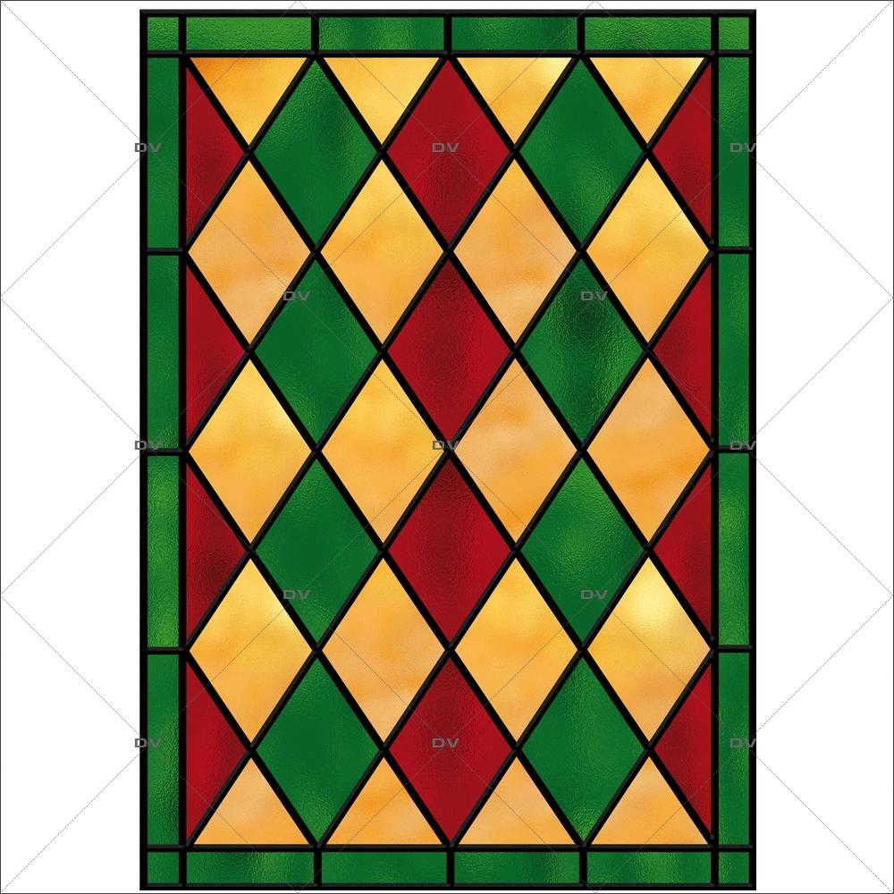 sticker-vitrail-arlequin-losanges-vert-jaune-rouge-geometrique-electrostatique-adhesif-effet-depoli-DECO-VITRES-VIT44