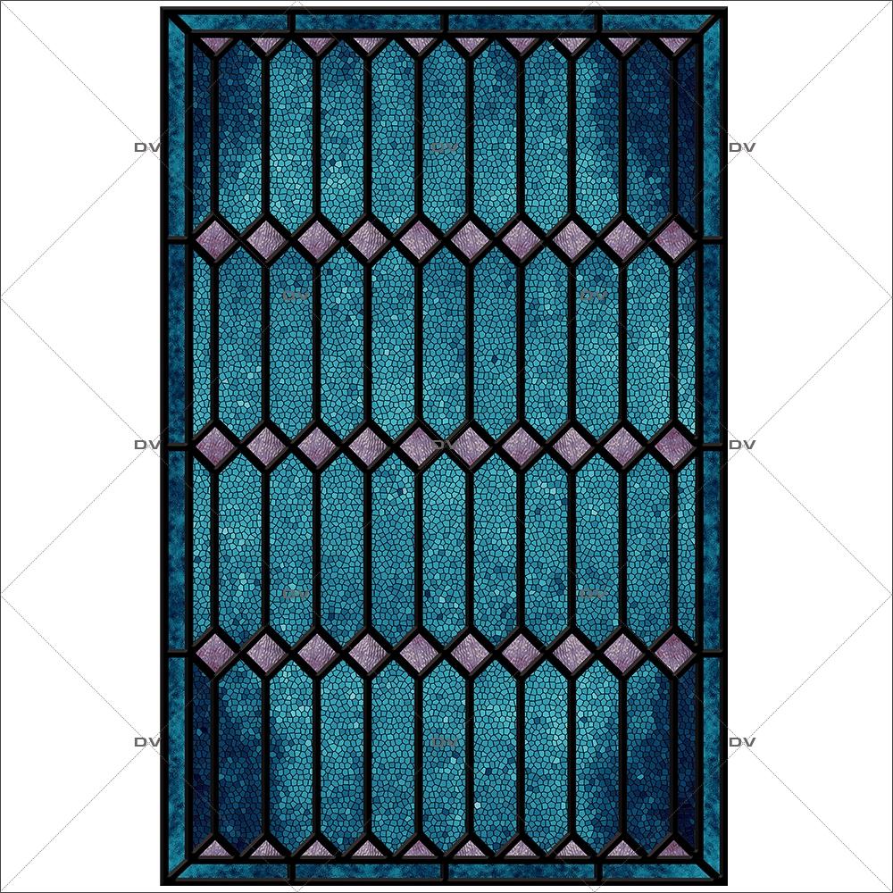Sticker-vitrail-géométrique-bleu-parme-ancien-vintage-retro-vitrophanie-électrostatique-sans-colle-repositionnable-réutilisable-ou-adhésif-décoration-fenêtres-vitres-DECO-VITRES