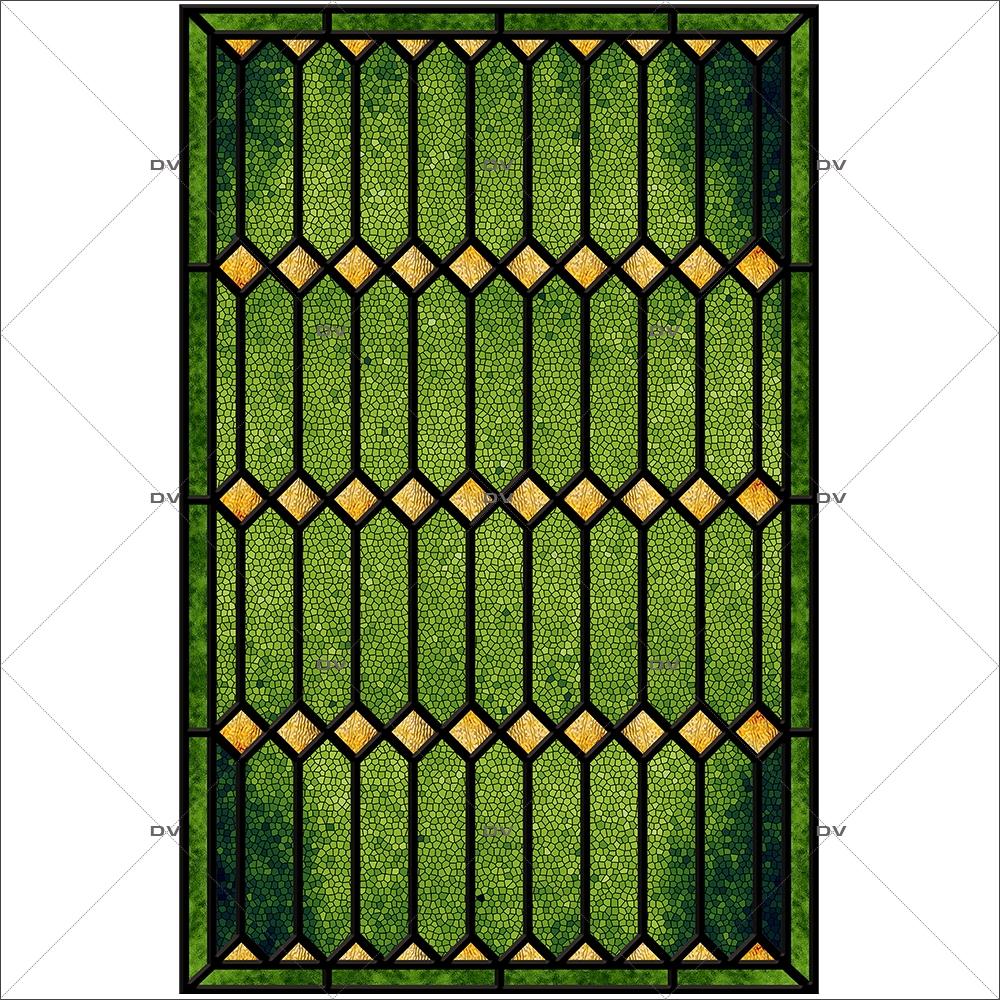 Sticker-vitrail-géométrique-vert-jaune-ancien-vintage-retro-vitrophanie-électrostatique-sans-colle-repositionnable-réutilisable-ou-adhésif-décoration-fenêtres-vitres-DECO-VITRES