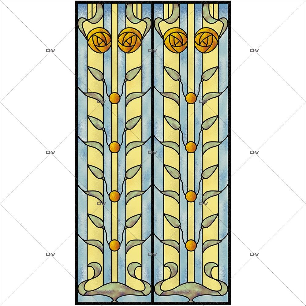 Sticker-vitrail-art-nouveau-retro-vintage-fleurs-vitrophanie-électrostatique-sans-colle-repositionnable-réutilisable-ou-adhésif-décoration-fenêtres-vitres-DECO-VITRES
