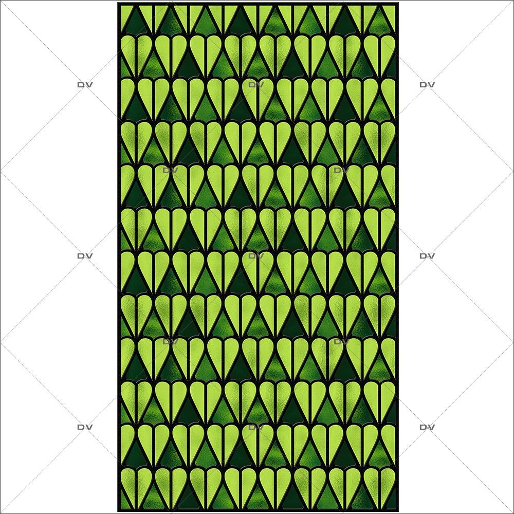 Sticker-vitrail-géométrique-vert-vitrophanie-électrostatique-sans-colle-repositionnable-réutilisable-ou-adhésif-décoration-fenêtres-vitres-DECO-VITRES