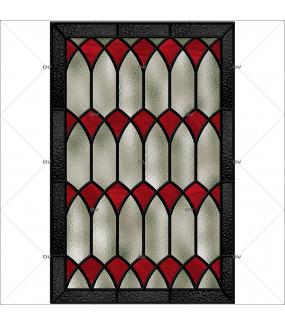 Sticker-vitrail-géométrique-rouge-gris-ancien-vintage-retro-vitrophanie-électrostatique-sans-colle-repositionnable-réutilisable-ou-adhésif-décoration-fenêtres-vitres-DECO-VITRES