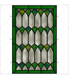 Sticker-vitrail-géométrique-vert-gris-ancien-vintage-retro-vitrophanie-électrostatique-sans-colle-repositionnable-réutilisable-ou-adhésif-décoration-fenêtres-vitres-DECO-VITRES