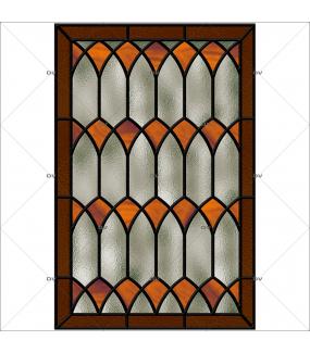 Sticker-vitrail-géométrique-orange-gris-ancien-vintage-retro-vitrophanie-électrostatique-sans-colle-repositionnable-réutilisable-ou-adhésif-décoration-fenêtres-vitres-DECO-VITRES