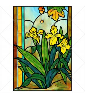 Sticker-vitrail-arbres-jonquilles-fleurs-paysage-nature-retro-vitrophanie-électrostatique-sans-colle-repositionnable-réutilisable-ou-adhésif-décoration-fenêtres-vitres-DECO-VITRES