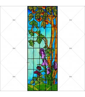Sticker-vitrail-arbres-iris-fleurs-paysage-nature-retro-vitrophanie-électrostatique-sans-colle-repositionnable-réutilisable-ou-adhésif-décoration-fenêtres-vitres-DECO-VITRES