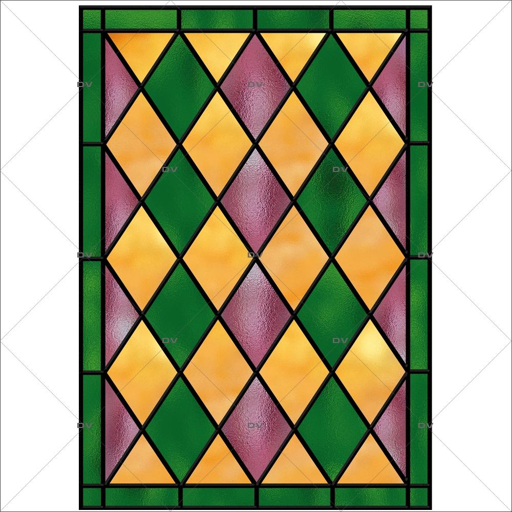 Sticker-vitrail-géométrique-losanges-vert-rose-jaune-ancien-vintage-retro-vitrophanie-électrostatique-sans-colle-repositionnable-réutilisable-ou-adhésif-décoration-fenêtres-vitres-DECO-VITRES