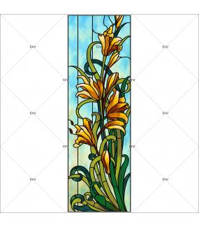 Sticker-vitrail-lys-fleurs-paysage-nature-retro-vitrophanie-électrostatique-sans-colle-repositionnable-réutilisable-ou-adhésif-décoration-fenêtres-vitres-DECO-VITRES