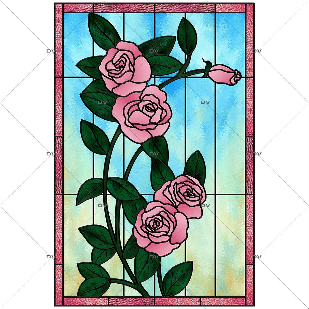Sticker-vitrail-roses-fleurs-roses-paysage-nature-retro-vitrophanie-électrostatique-sans-colle-repositionnable-réutilisable-ou-adhésif-décoration-fenêtres-vitres-DECO-VITRES