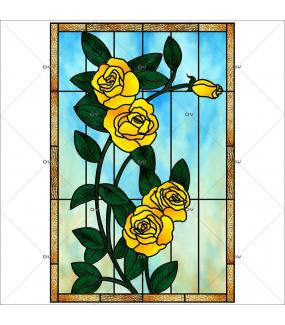 Sticker-vitrail-roses-fleurs-jaunes-paysage-nature-retro-vitrophanie-électrostatique-sans-colle-repositionnable-réutilisable-ou-adhésif-décoration-fenêtres-vitres-DECO-VITRES
