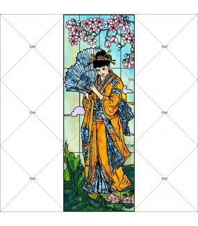 Sticker-vitrail-japonaise-geisha-cerisier-fleurs-paysage-vitrophanie-électrostatique-ou-adhésif-décoration-fenêtres-DECO-VITRES-i