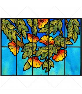 Sticker-vitrail-fleurs-paysage-nature-retro-art-deco-vitrophanie-électrostatique-sans-colle-repositionnable-réutilisable-ou-adhésif-décoration-fenêtres-vitres-DECO-VITRES