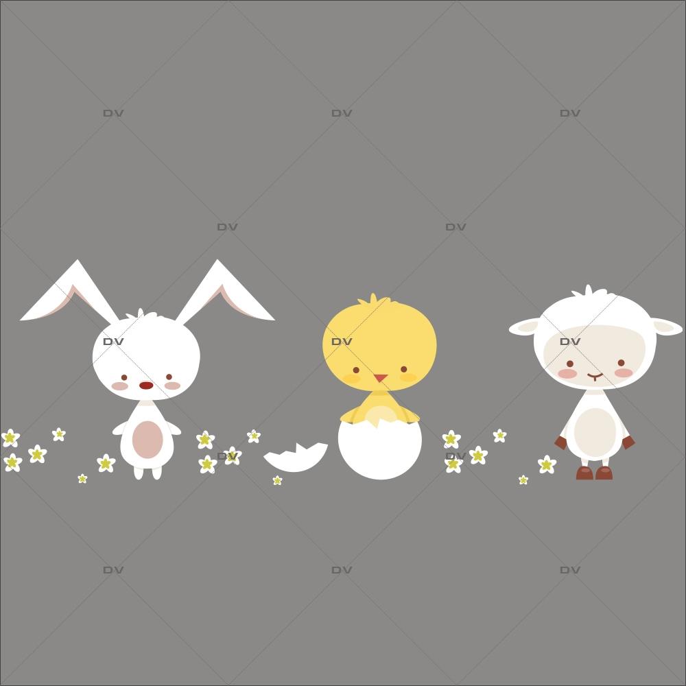 sticker-frise-lapin-poussin-oeuf-agneau-fleurs-de-paques-decoration-vitrine-paques-vitrophanie-electrostatique-sans-colle-reutilisable-DECO-VITRES-PAQ117
