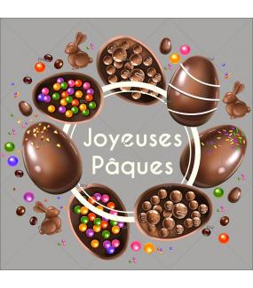 sticker-couronne-texte-joyeuses-paques-oeufs-lapins-chocolat-bonbons-multicolore-decoration-vitrine-paques-vitrophanie-electrostatique-sans-colle-reutilisable-DECO-VITRES-PAQ126